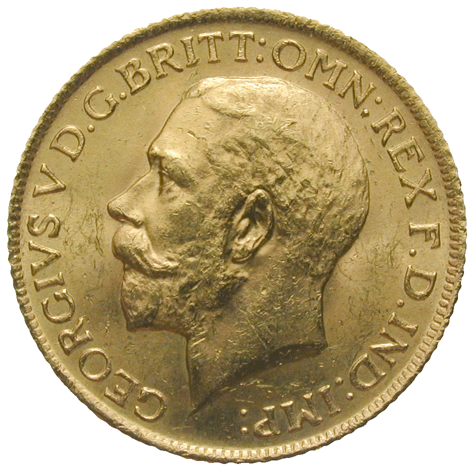 United Kingdom of Great Britain, George V, Sovereign 1912 (obverse)