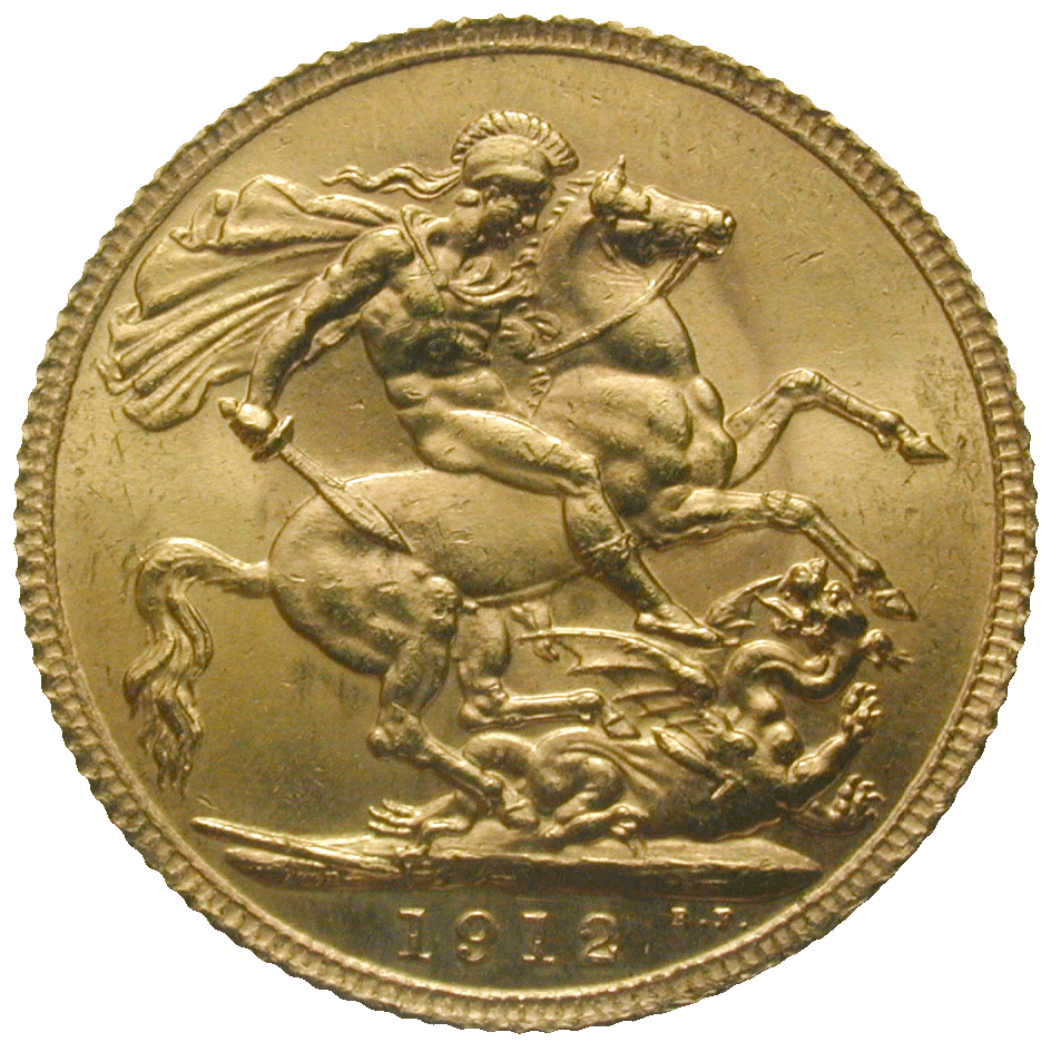 United Kingdom of Great Britain, George V, Sovereign 1912 (reverse)