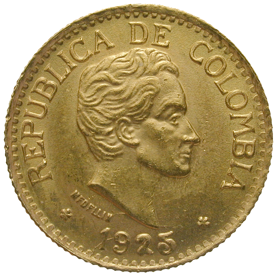 Republic of Colombia, 5 Pesos 1925 (obverse)