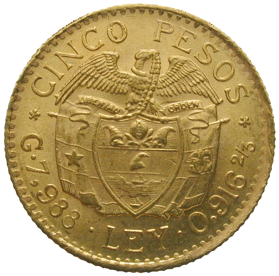 Republic of Colombia, 5 Pesos 1925 (reverse)