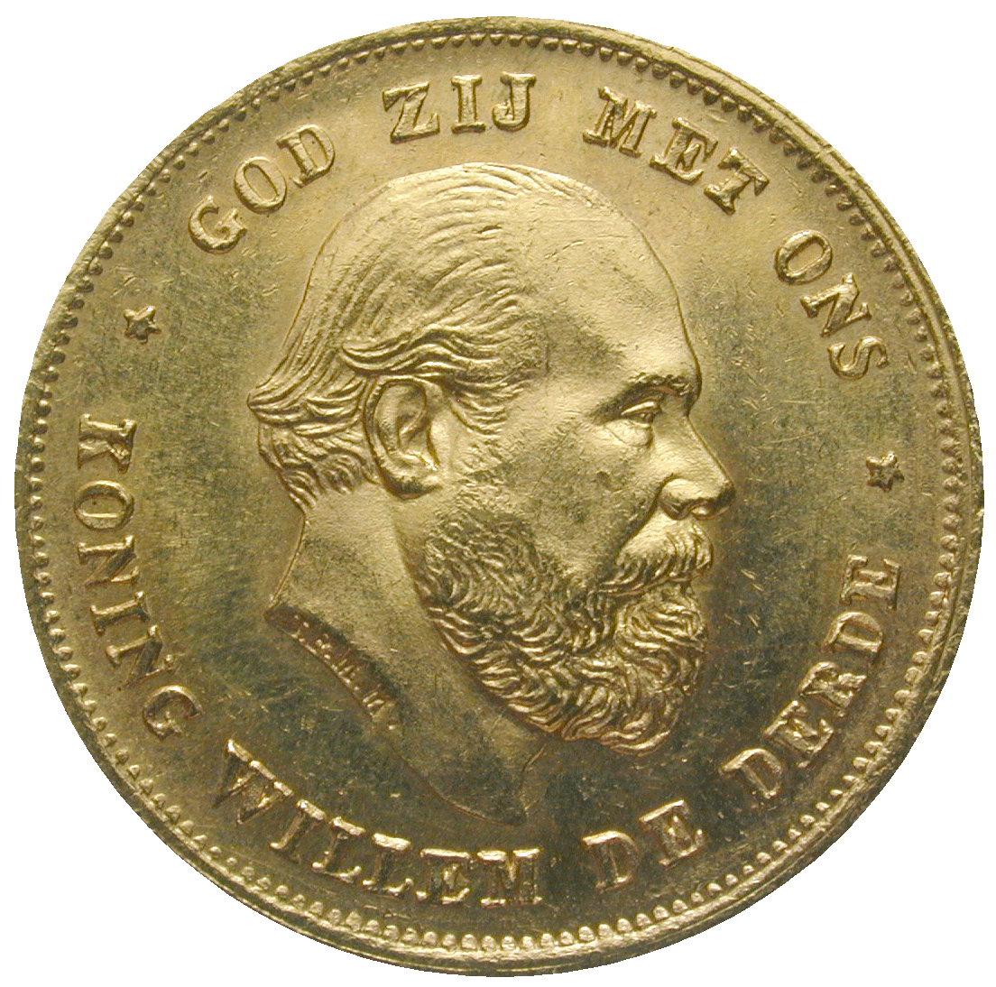 Kingdom of the Netherlands, William III, 10 Gulden 1875 (obverse)