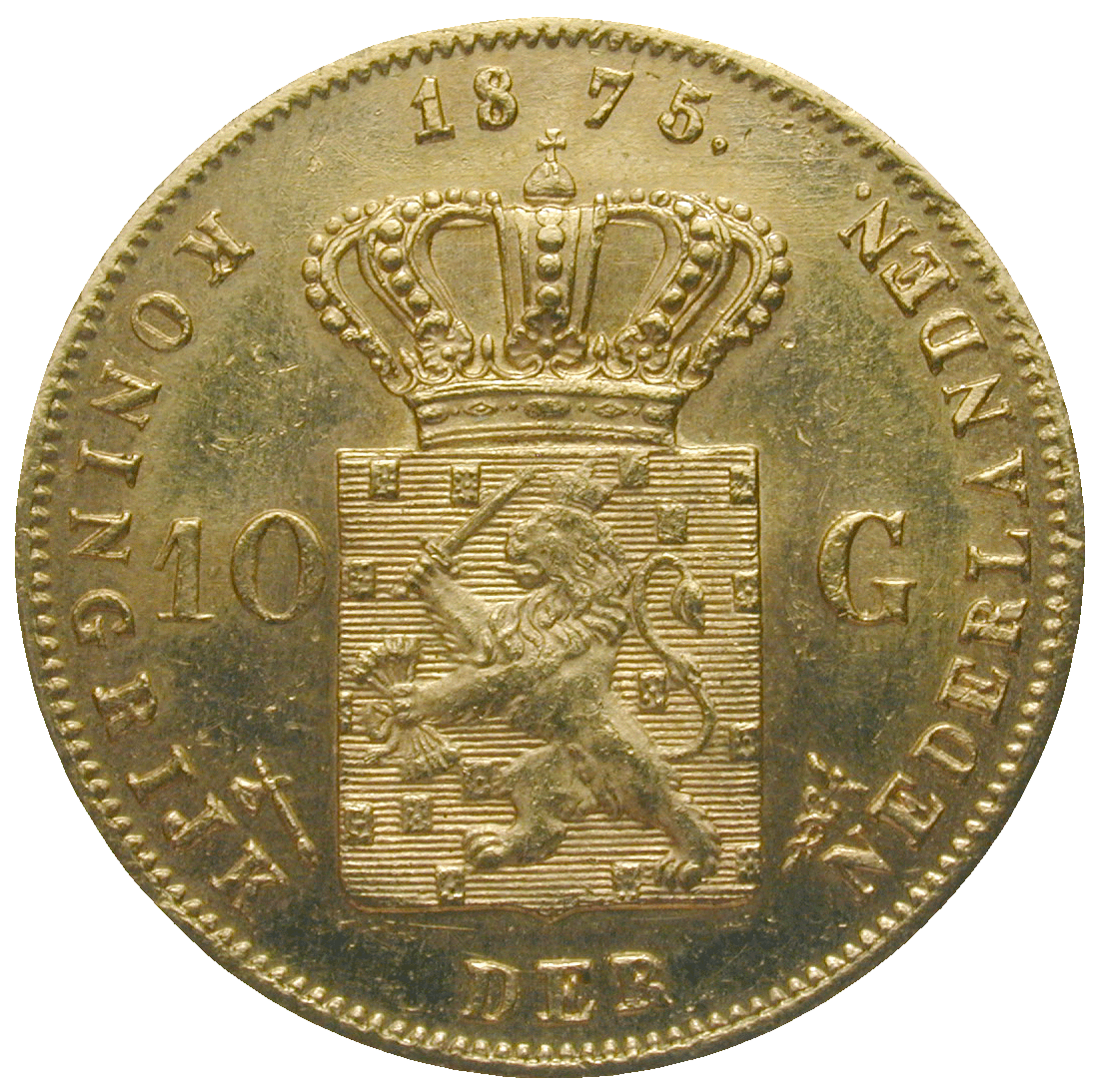 Kingdom of the Netherlands, William III, 10 Gulden 1875 (reverse)