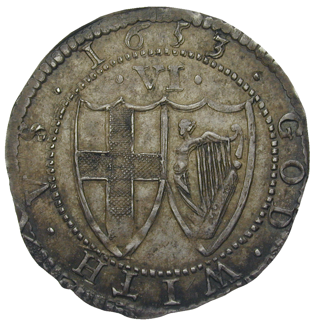 Commonwealth of England, Sixpence 1653 (reverse)
