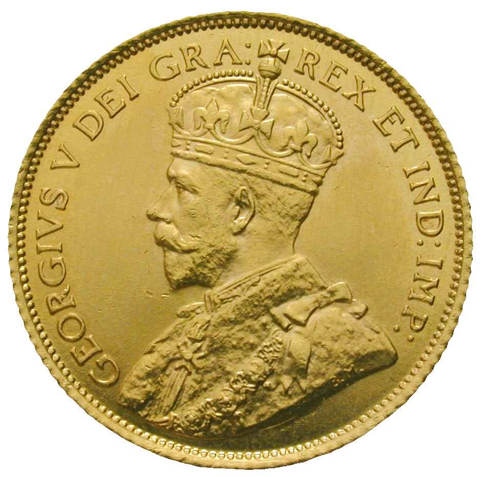 United Kingdom of Great Britain for Canada, George V, 5 Dollars 1912 (obverse)