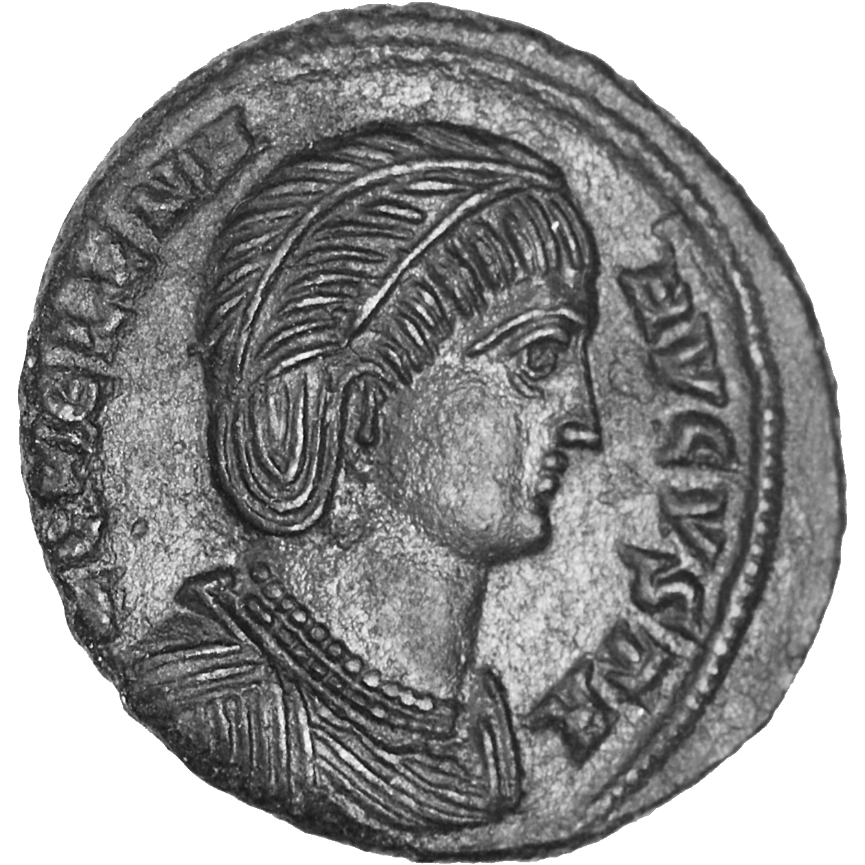 Roman Empire, Constantine I the Great for his Mother Helena, Follis (obverse)