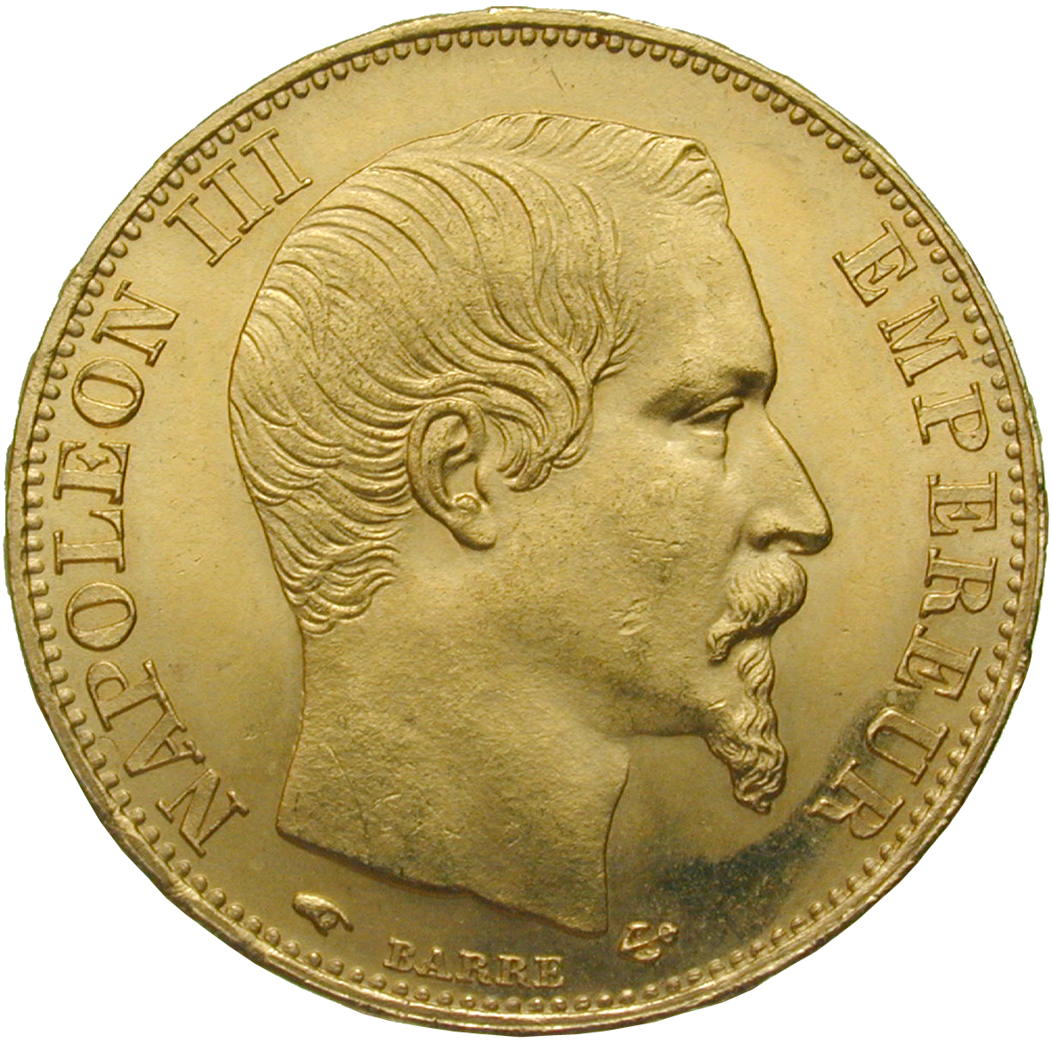 French Empire, Napoleon III, 20 Francs 1856 (obverse)