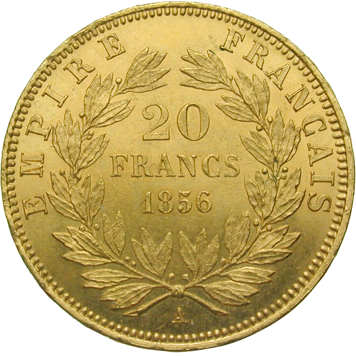 French Empire, Napoleon III, 20 Francs 1856 (reverse)