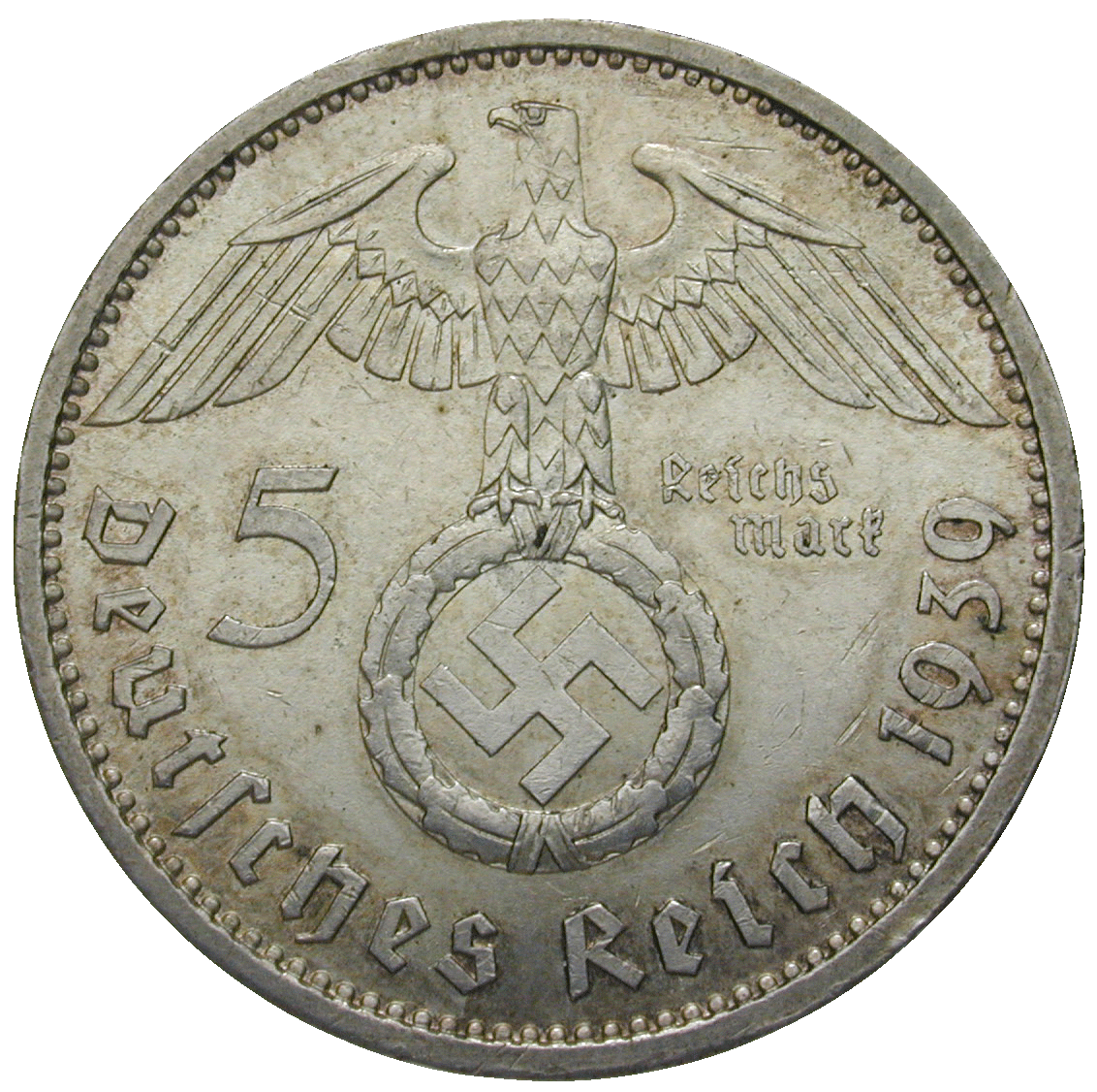 German Third Empire, 5 Reichsmark 1939 (obverse)