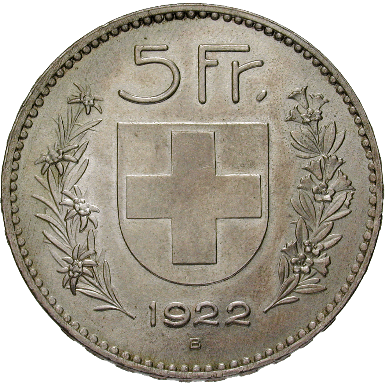 Swiss Confederation, 5 Francs 1922 (reverse)