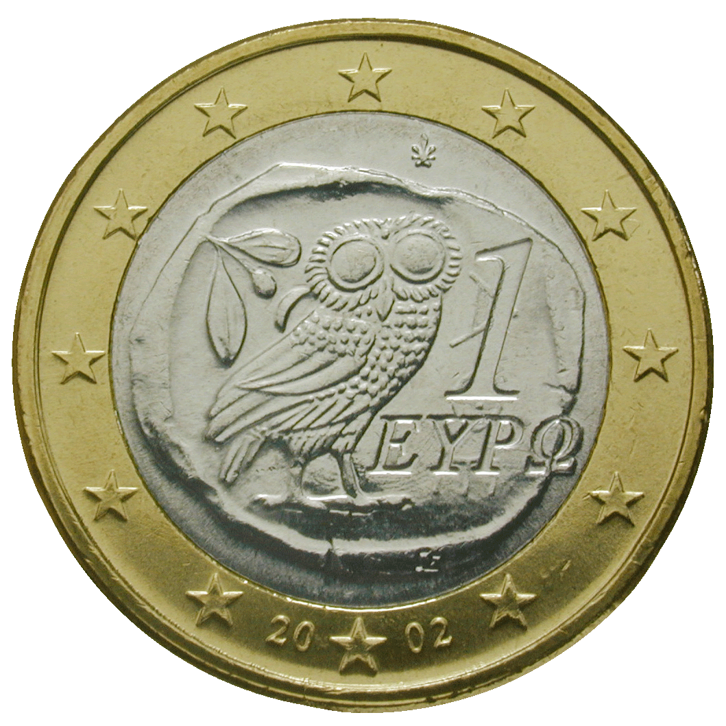 Republic of Greece, 1 Euro 2002 (obverse)