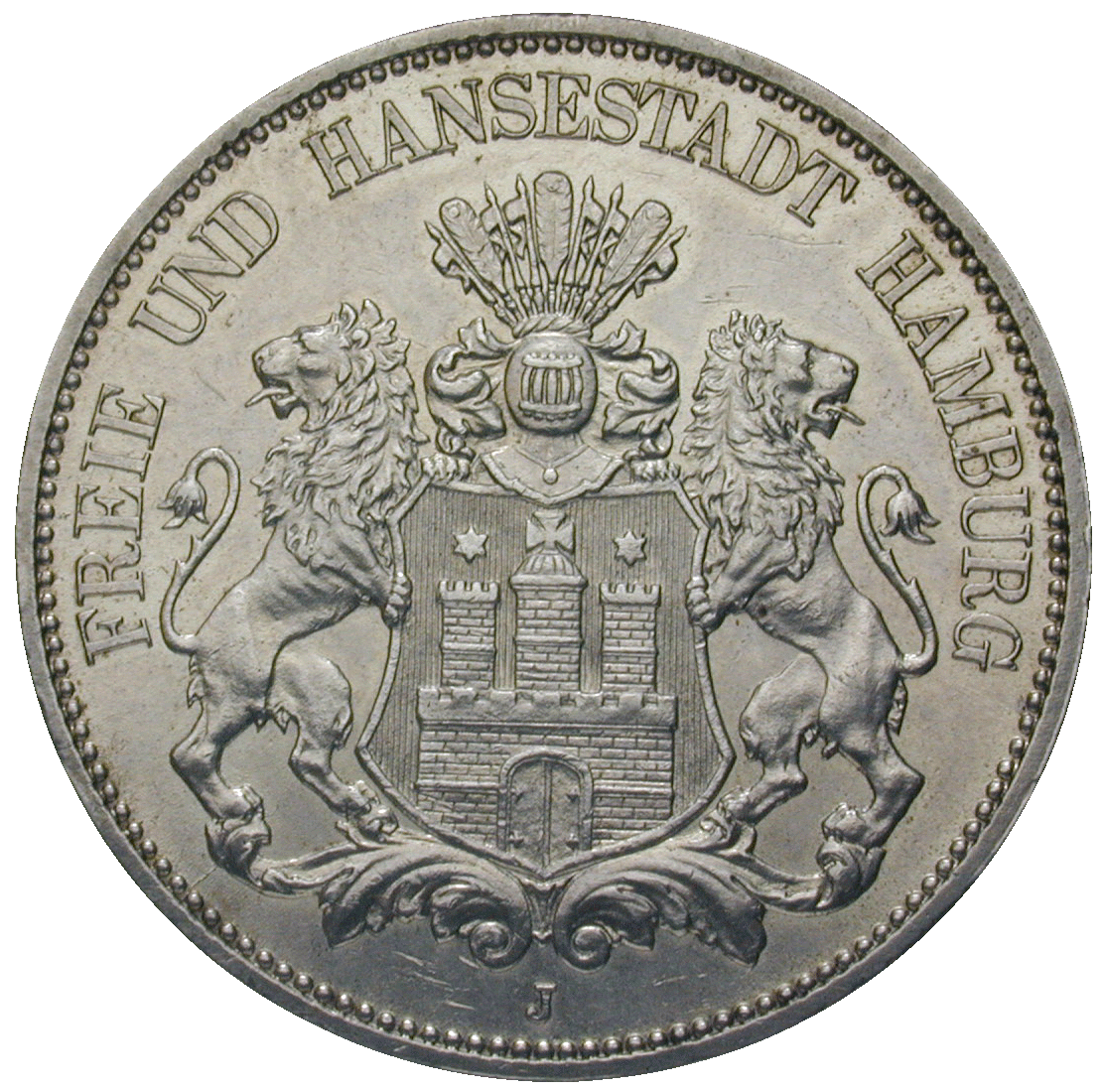 German Empire, Wilhelm II, Free Hanseatic City of Hamburg, 5 Mark 1913 (obverse)