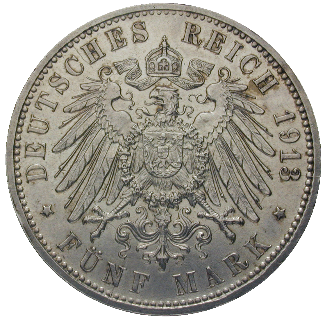 German Empire, Wilhelm II, Free Hanseatic City of Hamburg, 5 Mark 1913 (reverse)