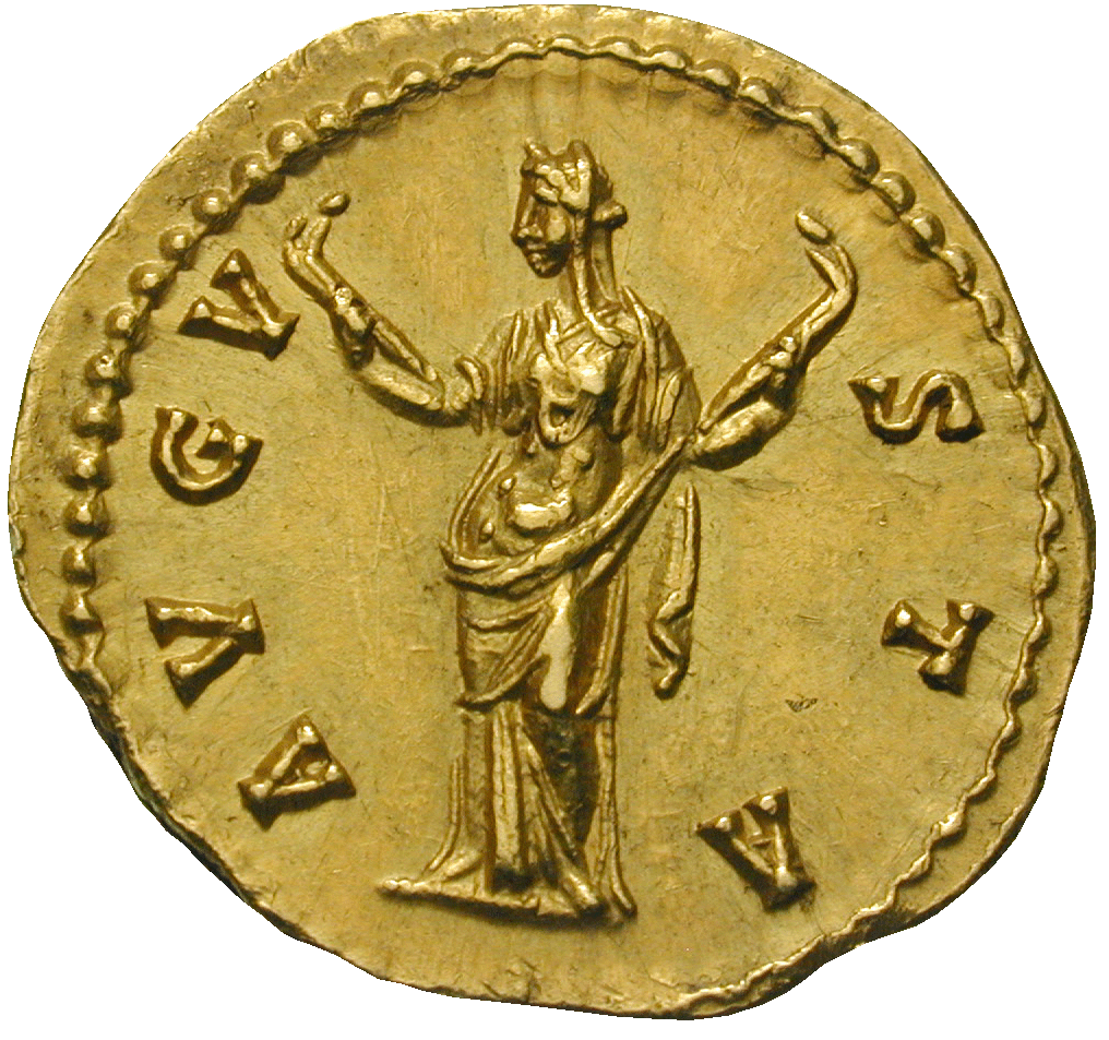 Roman Empire, Antoninus Pius for his Wife Annia Galeria Faustina Major, Aureus (reverse)