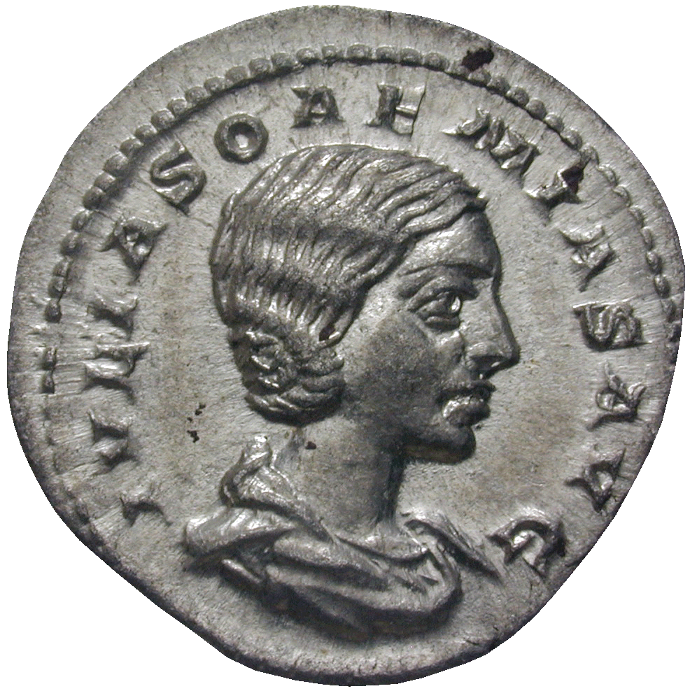Roman Empire, Elagabalus for his Mother Julia Soaemias, Denarius (obverse)