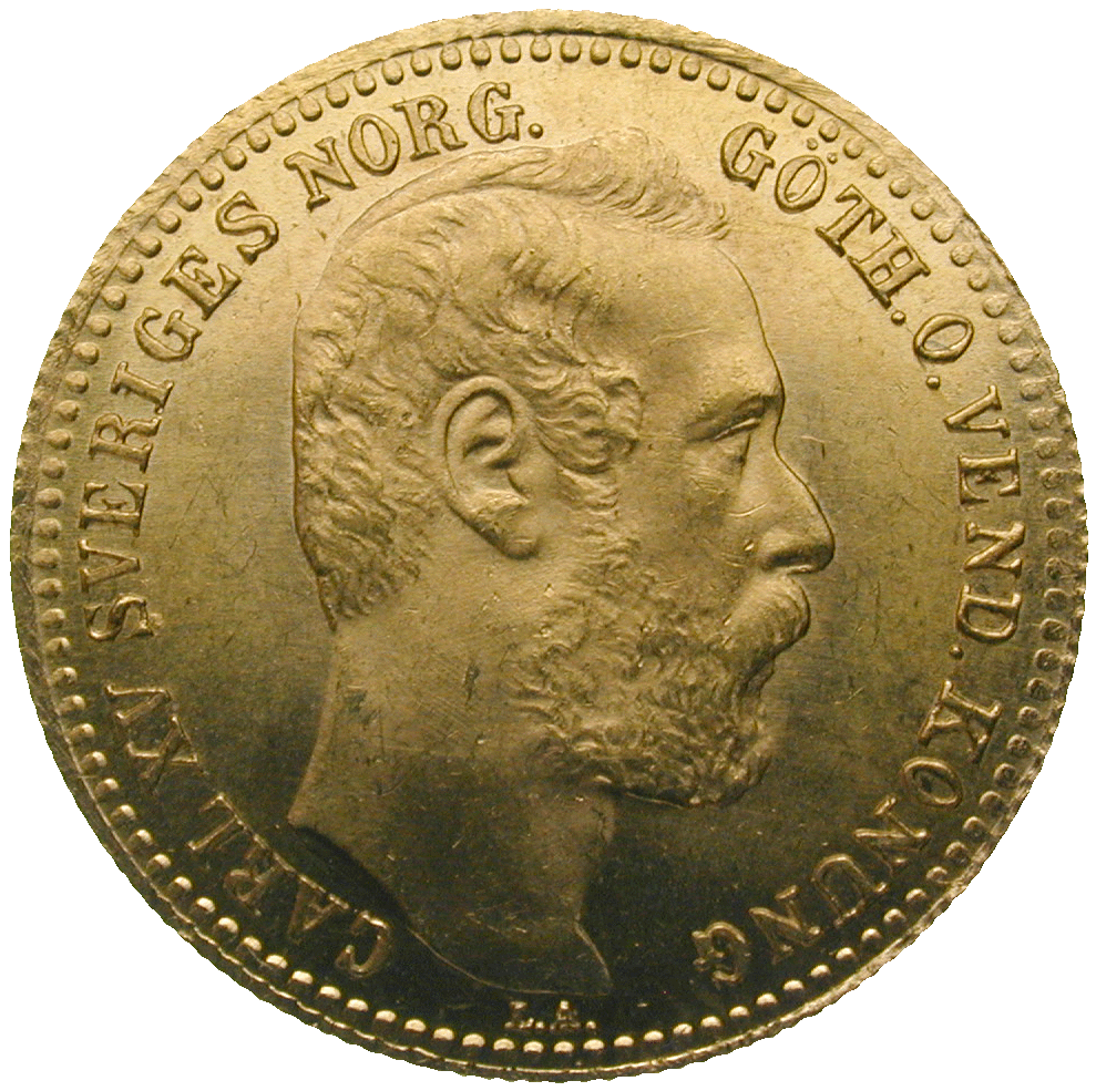 Kingdom of Sweden, Charles XV, 1 Carolin 1869 (obverse)