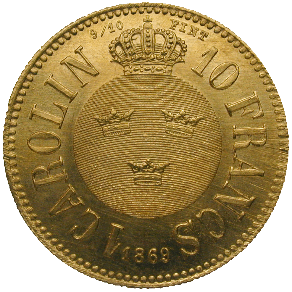 Kingdom of Sweden, Charles XV, 1 Carolin 1869 (reverse)