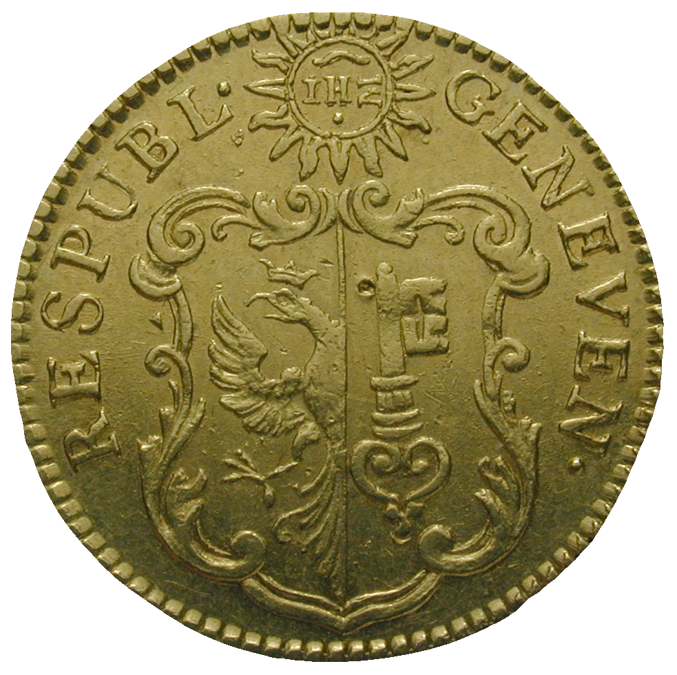 Republik of Geneva, Pistole 1755 (obverse)