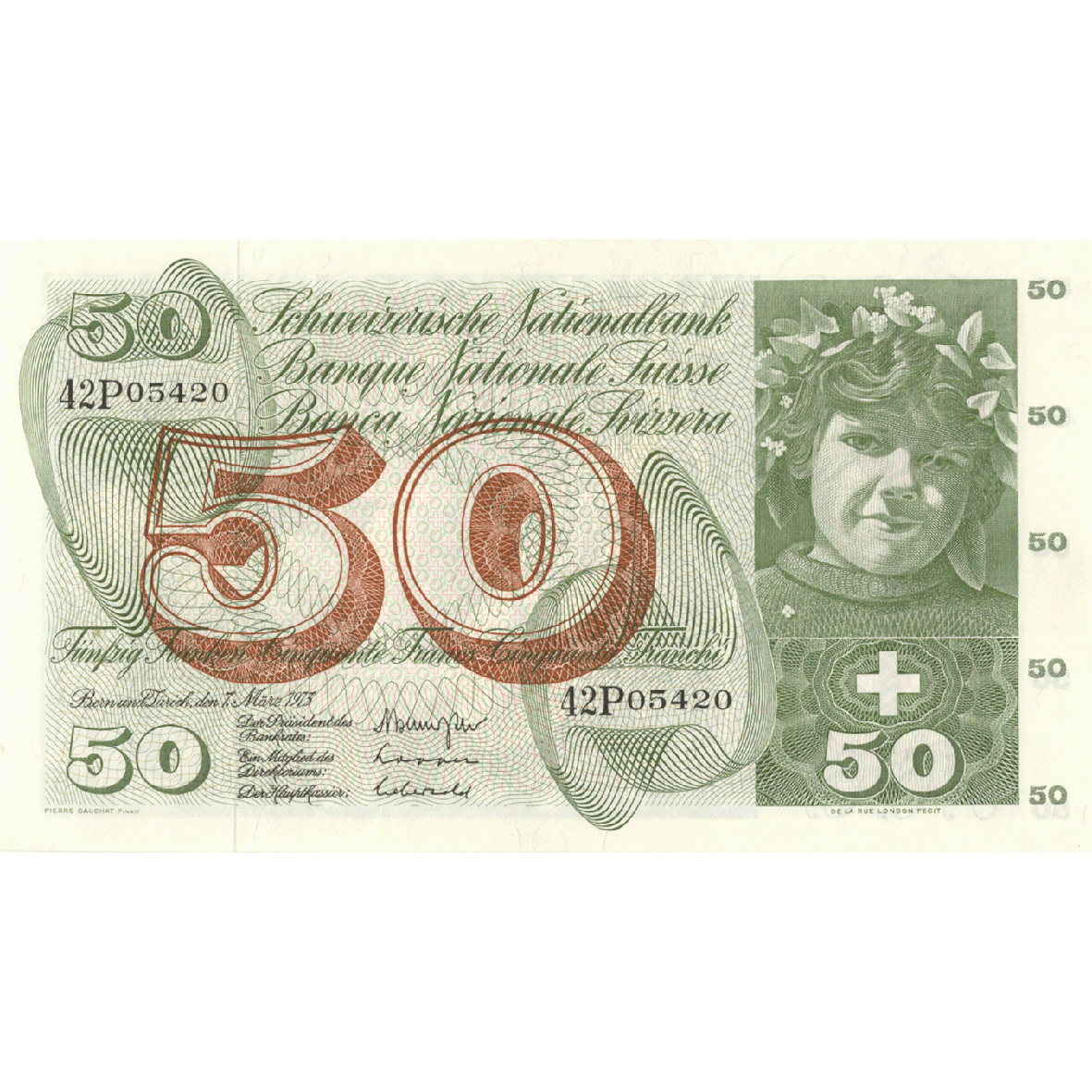 Swiss Confederation, 50 Francs (5th Banknote Series, in Circulation 1956-1980) (obverse)