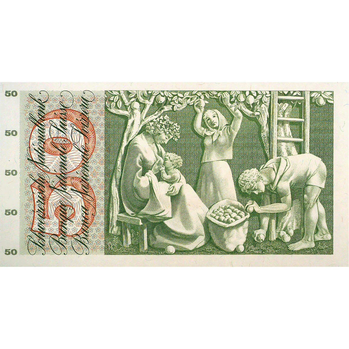 Swiss Confederation, 50 Francs (5th Banknote Series, in Circulation 1956-1980) (reverse)