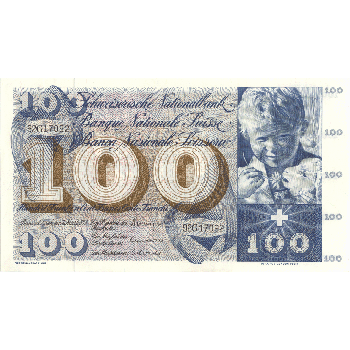 Swiss Confederation, 100 Francs (5th Banknote Series, in Circulation 1956-1980) (obverse)