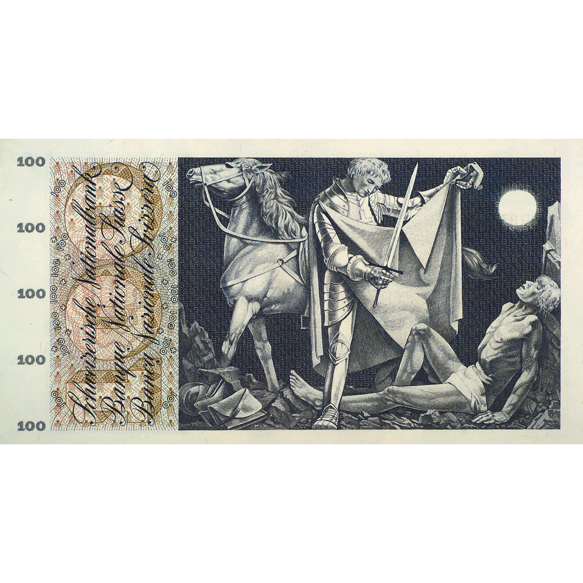 Swiss Confederation, 100 Francs (5th Banknote Series, in Circulation 1956-1980) (reverse)