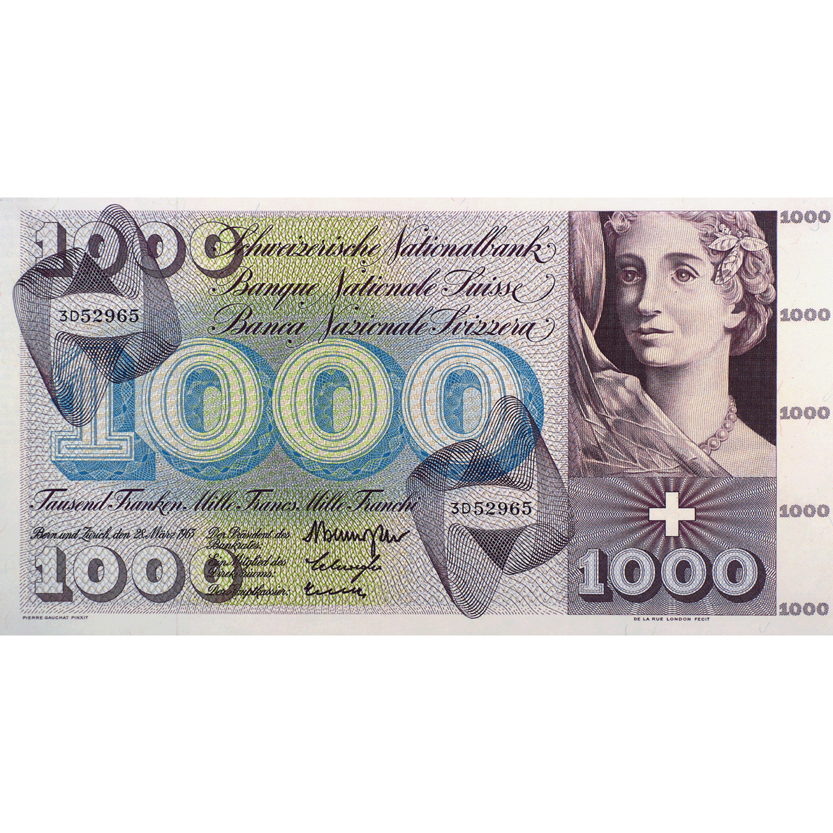 Swiss Confederation, 1,000 Francs (5th Banknote Series, in Circulation 1956-1980) (obverse)