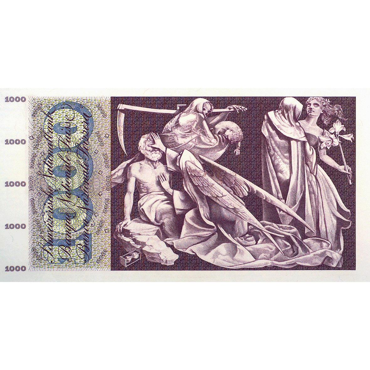 Swiss Confederation, 1,000 Francs (5th Banknote Series, in Circulation 1956-1980) (reverse)