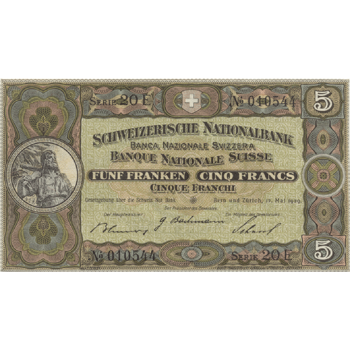 Swiss Confederation, 5 Francs (2nd Banknote Series, in Circulation 1911-1980) (obverse)