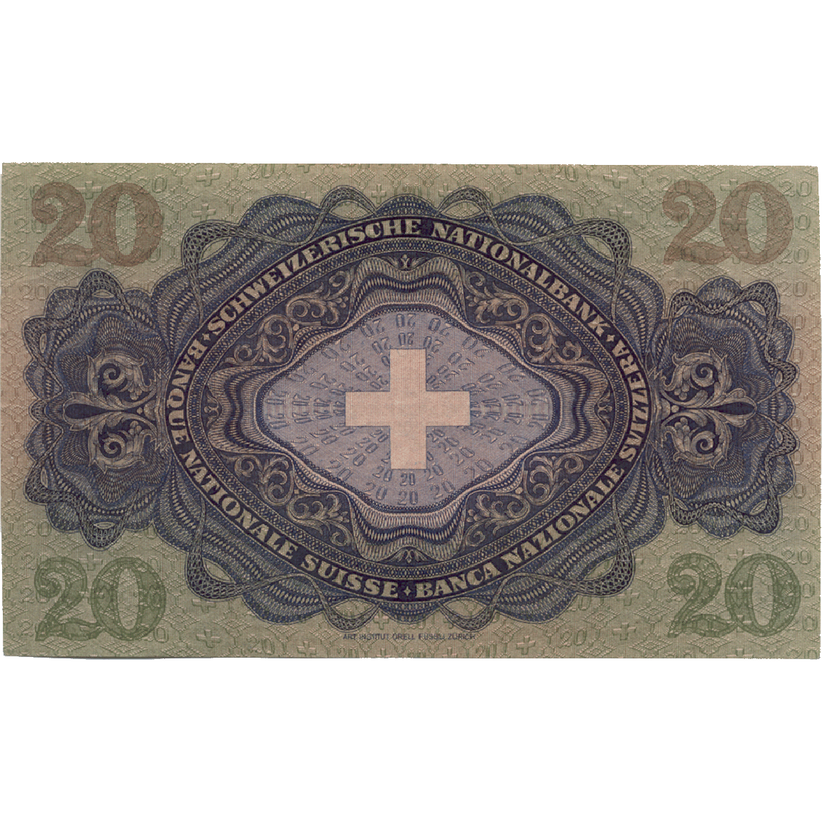 Swiss Confederation, 20 Francs (3rd Banknote Series, in Circulation 1918-1956) (reverse)