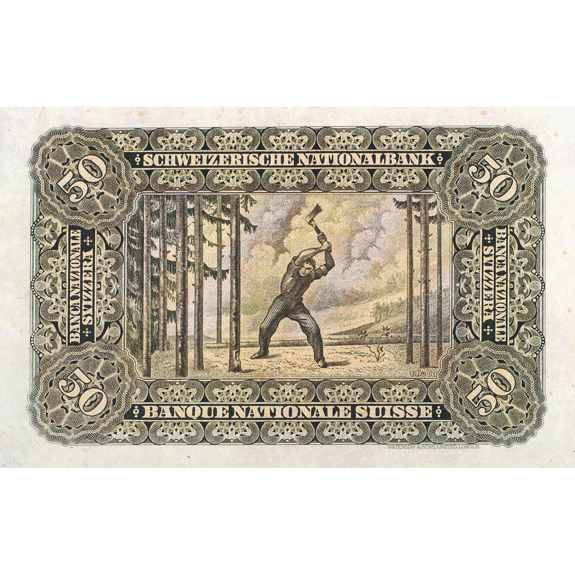 Swiss Confederation, 50 Francs (2nd Banknote Series, in Circulation 1911-1980) (reverse)
