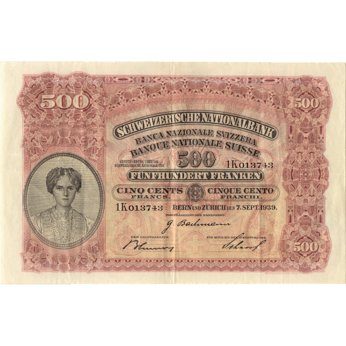 Swiss Confederation, 500 Francs (2nd Banknote Series, in Circulation 1911-1980) (obverse)
