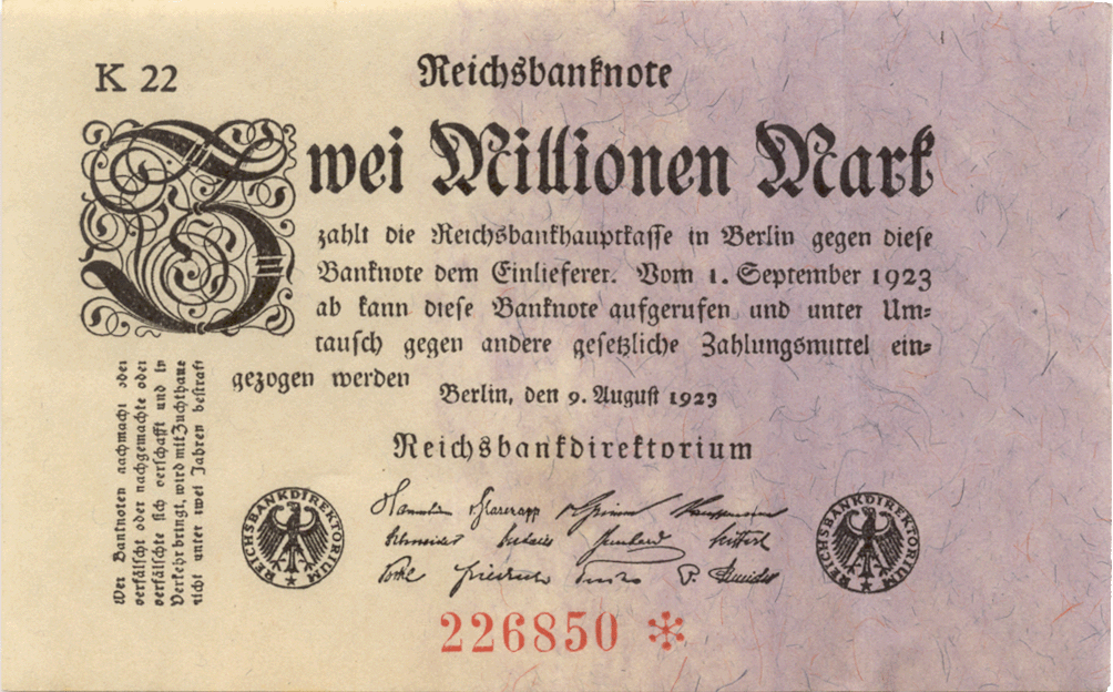 Deutsches Reich, Weimarer Republik, 2 Millionen Mark 1923 (obverse)