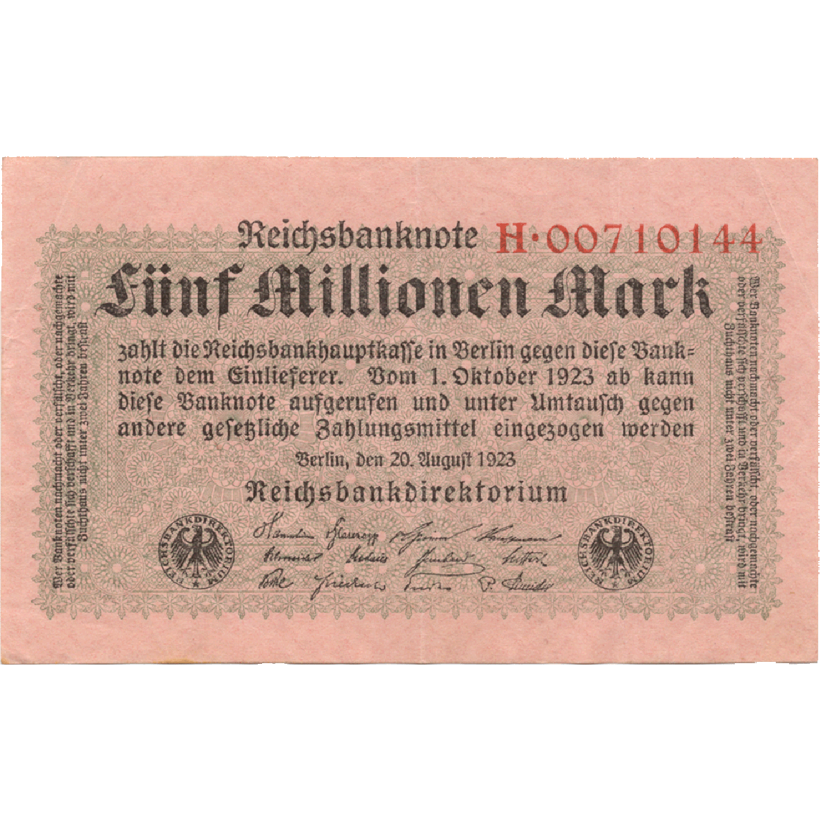 German Empire, Weimar Republic, 5 Million Mark 1923 (obverse)