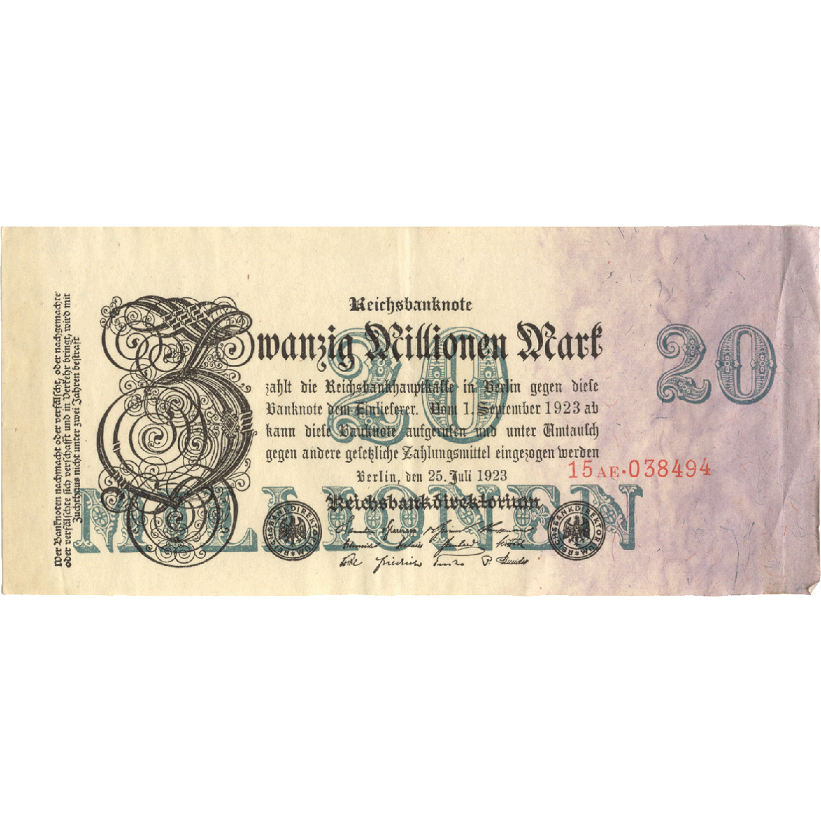 Deutsches Reich, Weimarer Republik, 20 Millionen Mark 1923 (obverse)