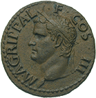 Roman Empire, Gaius for Marcus Agrippa, As (obverse)