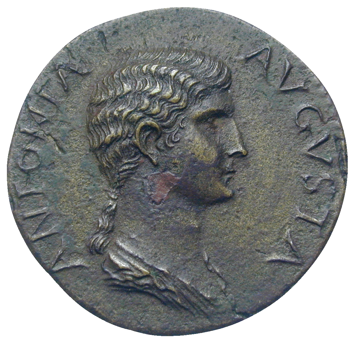 Roman Empire, Claudius for Antonia, Dupondius (obverse)
