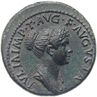 Roman Empire, Titus for his daughter Julia Titi, Dupondius (obverse)