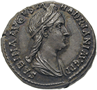 Roman Empire, Hadrian for his Wife Vibia Sabina, Denarius (obverse)
