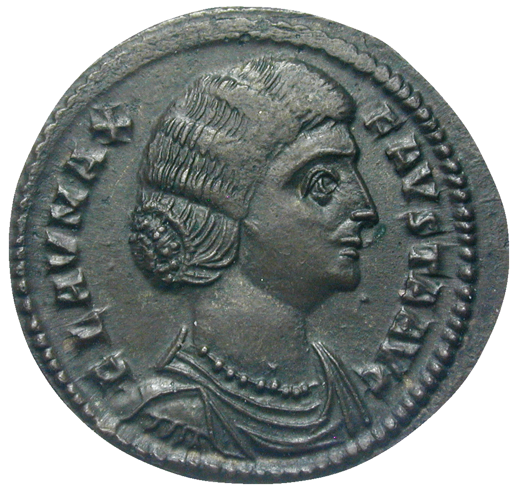 Roman Empire, Constantine for his Wive Fausta, Bronze Coin (obverse)