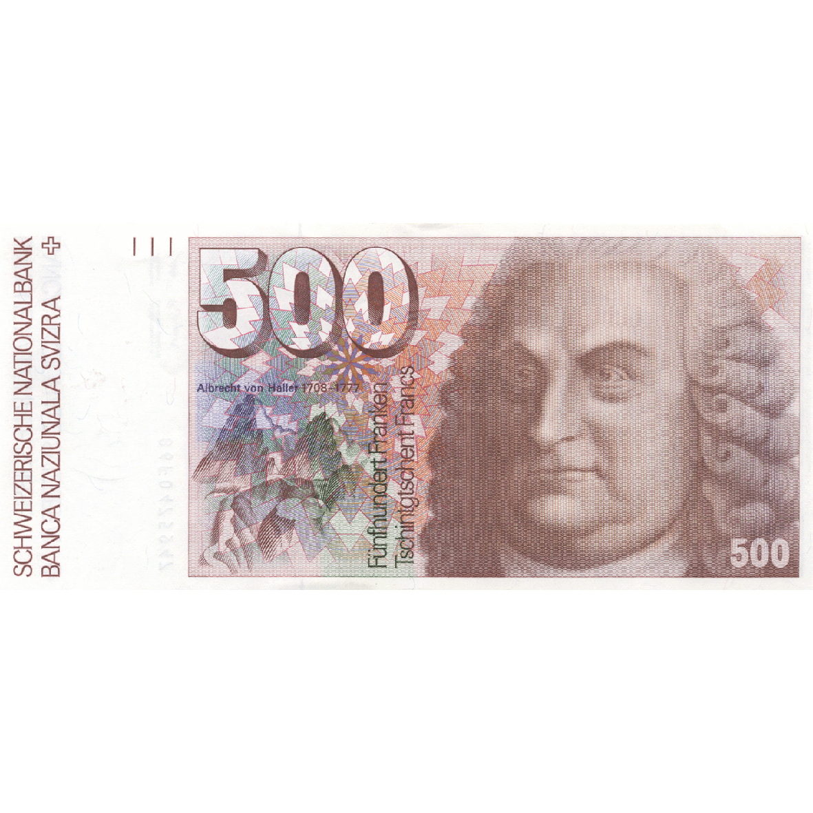 Swiss Confederation, 500 Francs (6th Banknote Series, in Circulation 1976-2000) (obverse)