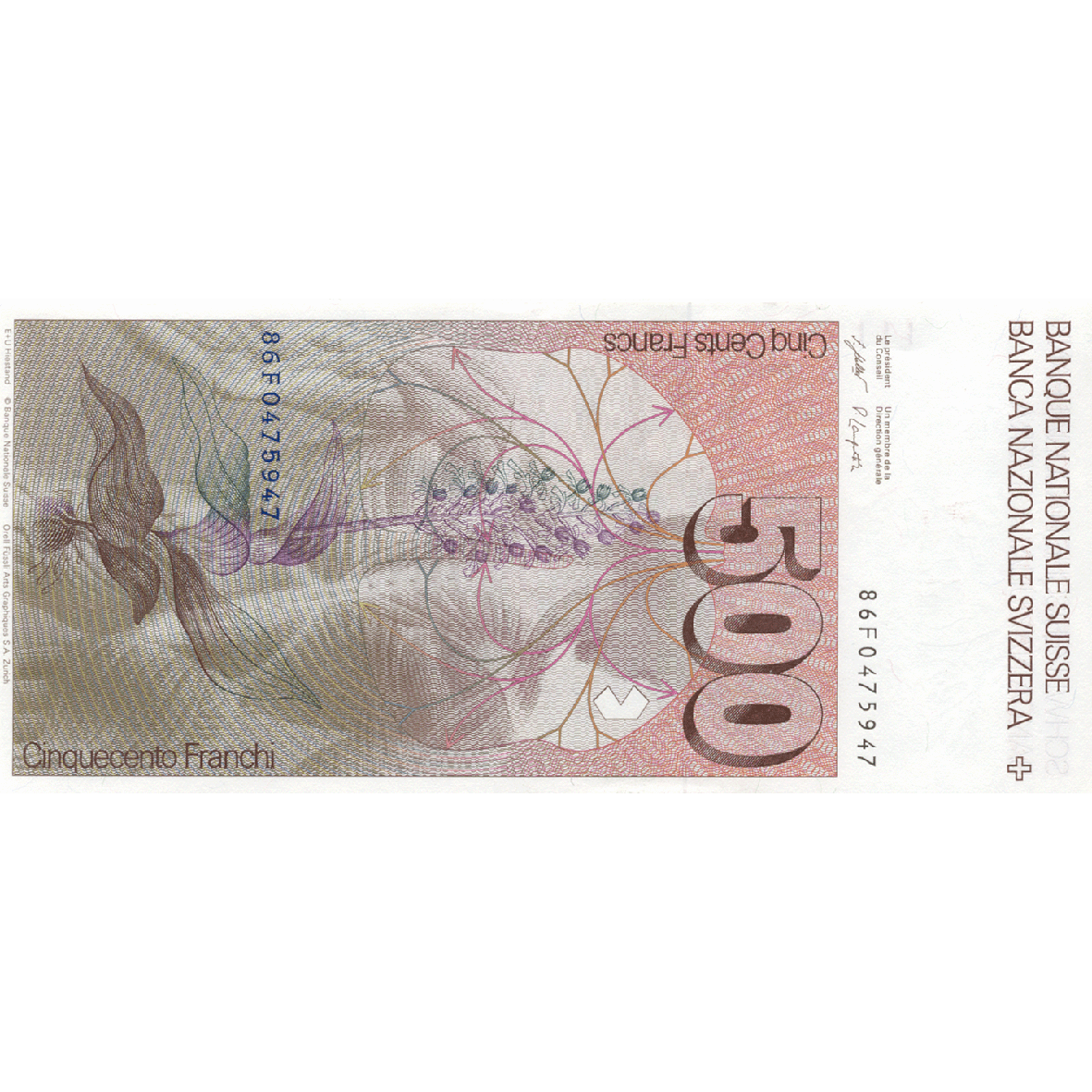Swiss Confederation, 500 Francs (6th Banknote Series, in Circulation 1976-2000) (reverse)