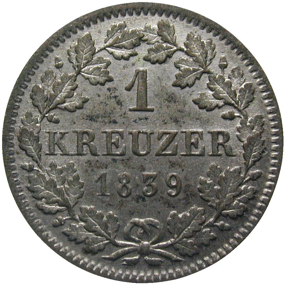 Kingdom of Bavaria, Louis I, 1 Kreuzer 1839 (reverse)