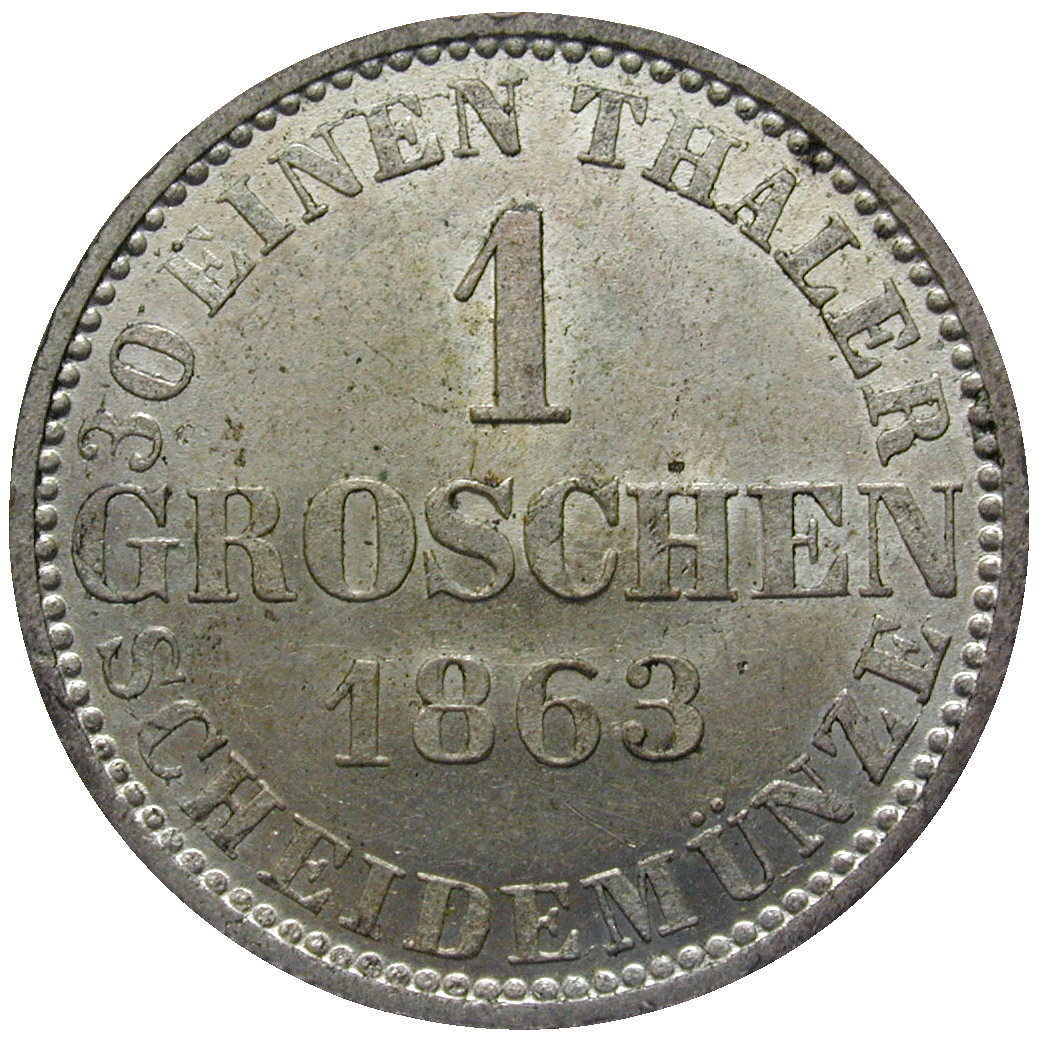 Kingdom of Hannover, George V, 1 Groschen 1863 (reverse)