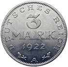 German Empire, Weimar Republic, 3 Mark 1922 (obverse)