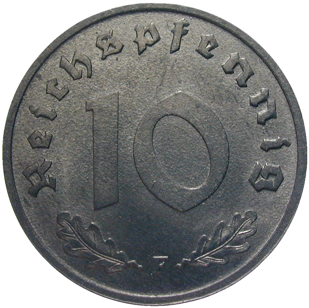 German Third Reich, Allied Occupation, 10 Reichspfennig 1948 (reverse)