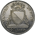 Canton of Zurich, Time of Mediation, 40 Batzen 1813 (obverse)