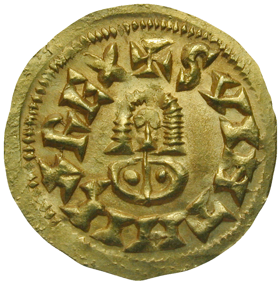 Iberian Peninsula, Empire of the Visigoths, Suintila, Tremissis (obverse)