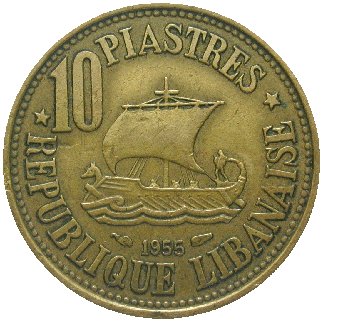Republic of Lebanon, 10 Piasters 1955 (obverse)