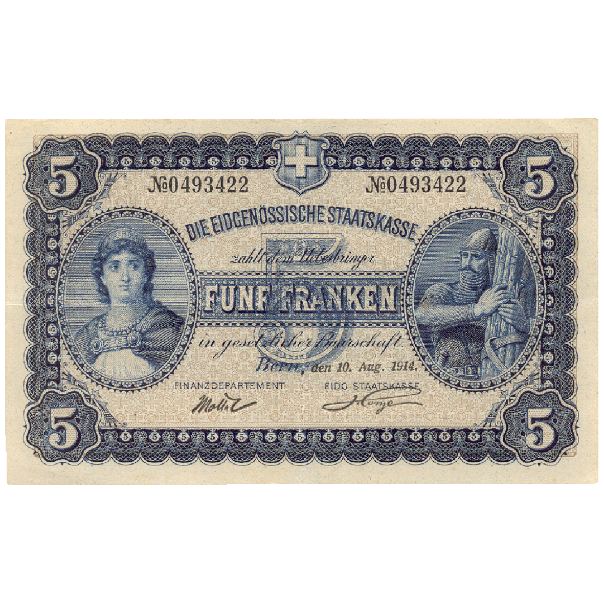 Swiss Confederation, Cashier's Bill worth 5 Francs 1914 (in Circulation 1914-1926) (obverse)