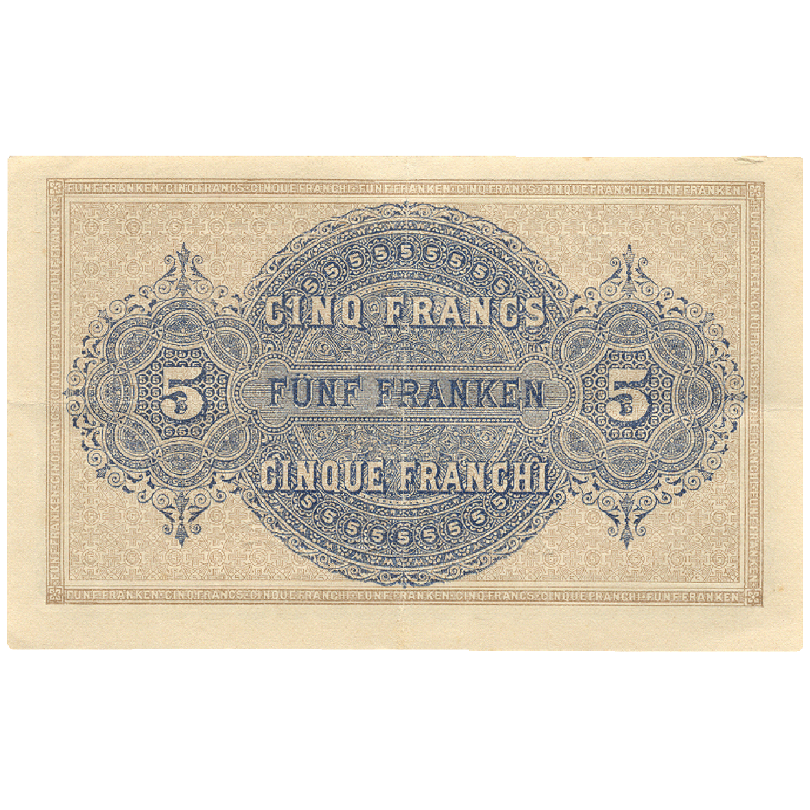 Swiss Confederation, Cashier's Bill worth 5 Francs 1914 (in Circulation 1914-1926) (reverse)